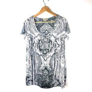 ONE WORLD Blouse Top White Black 1X Short Sleeve